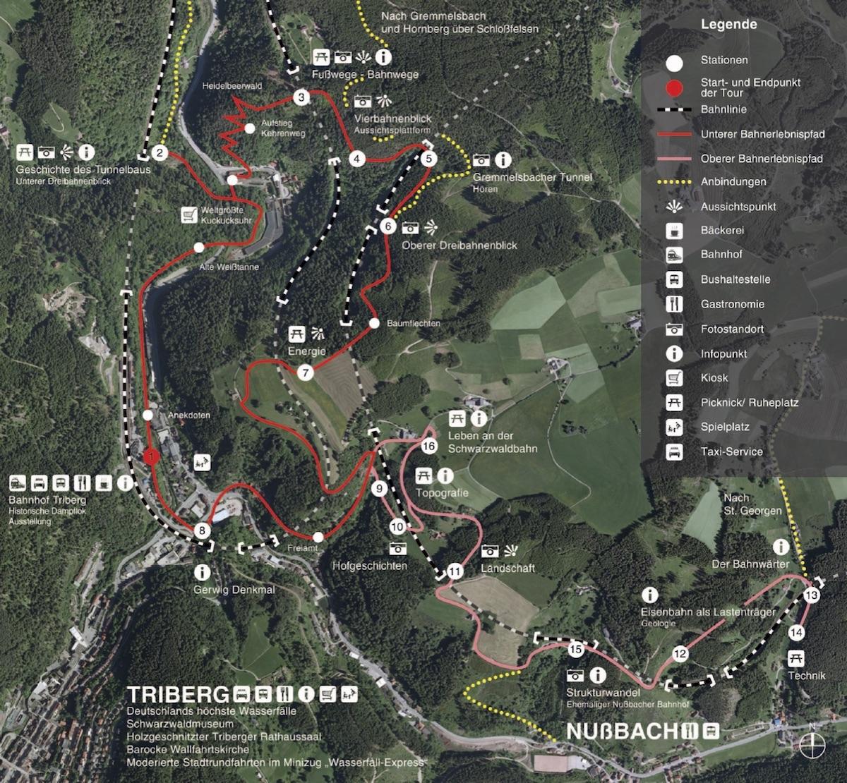 Carte des 2 sentiers proposés