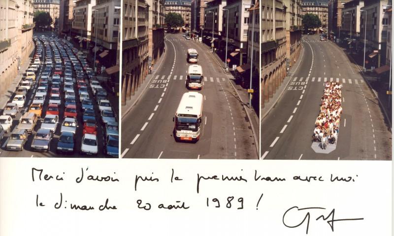 Comparatif entre l'espace occupé par la voiture, le bus et le tram, 20 août 1989