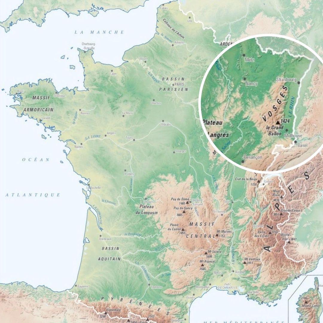 Carte des reliefs de France