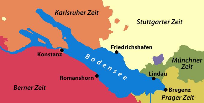 Les 5 fuseaux horaires autour du Bodensee (Lac de Constance)