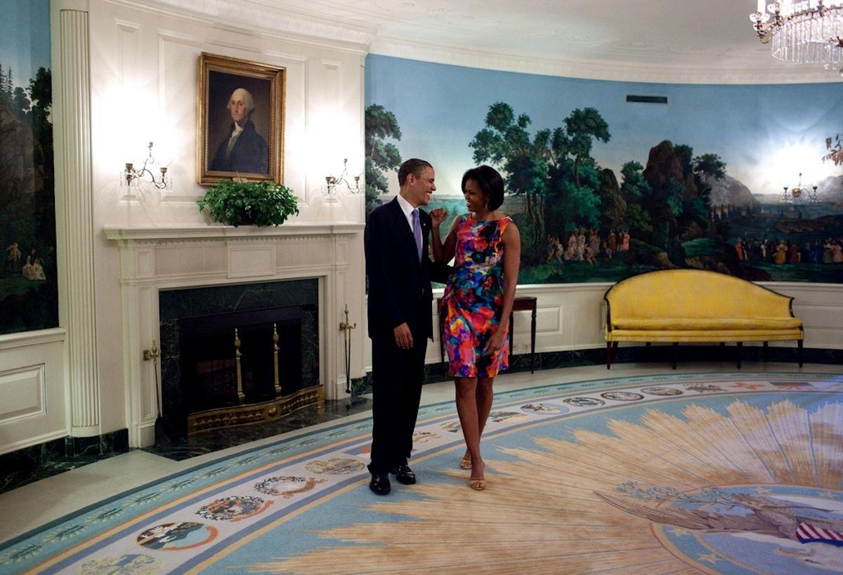 Couple Obama dans le salon Diplomatique de la Maison Blanche
