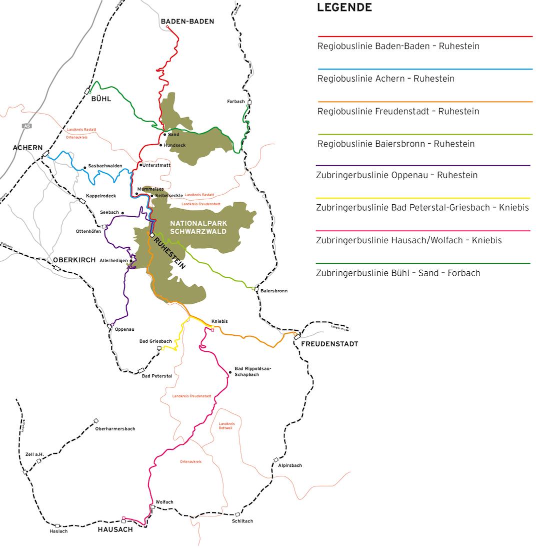 Plan des lignes de bus - Forêt-Noire Nord