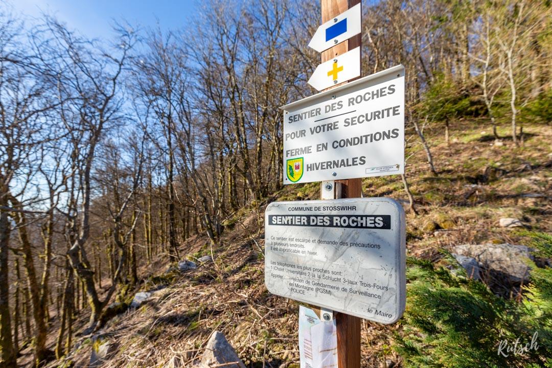 Balisage Sentier des Roches en Alsace