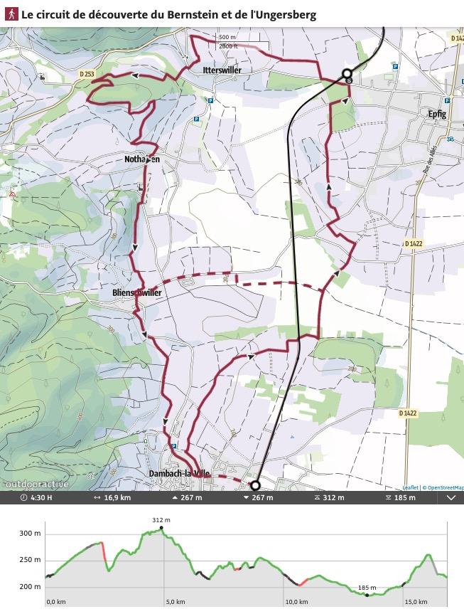 Itinéraire vignoble Alsace Epfig Blienschwiller Dambach