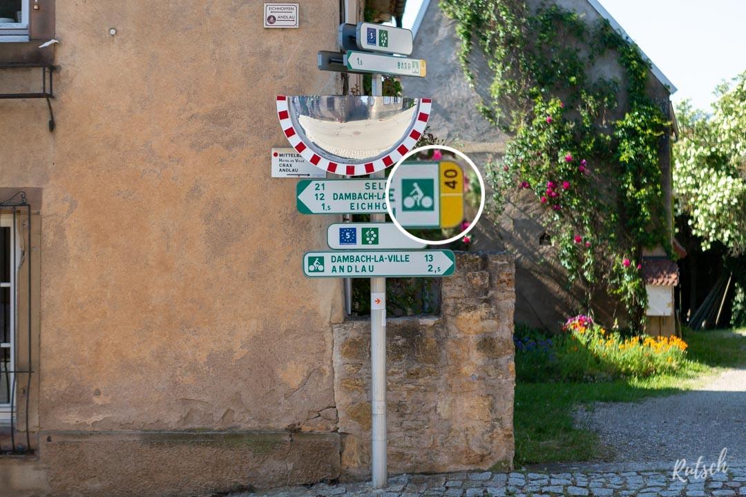 Panneau cyclable route des vins d'Alsace