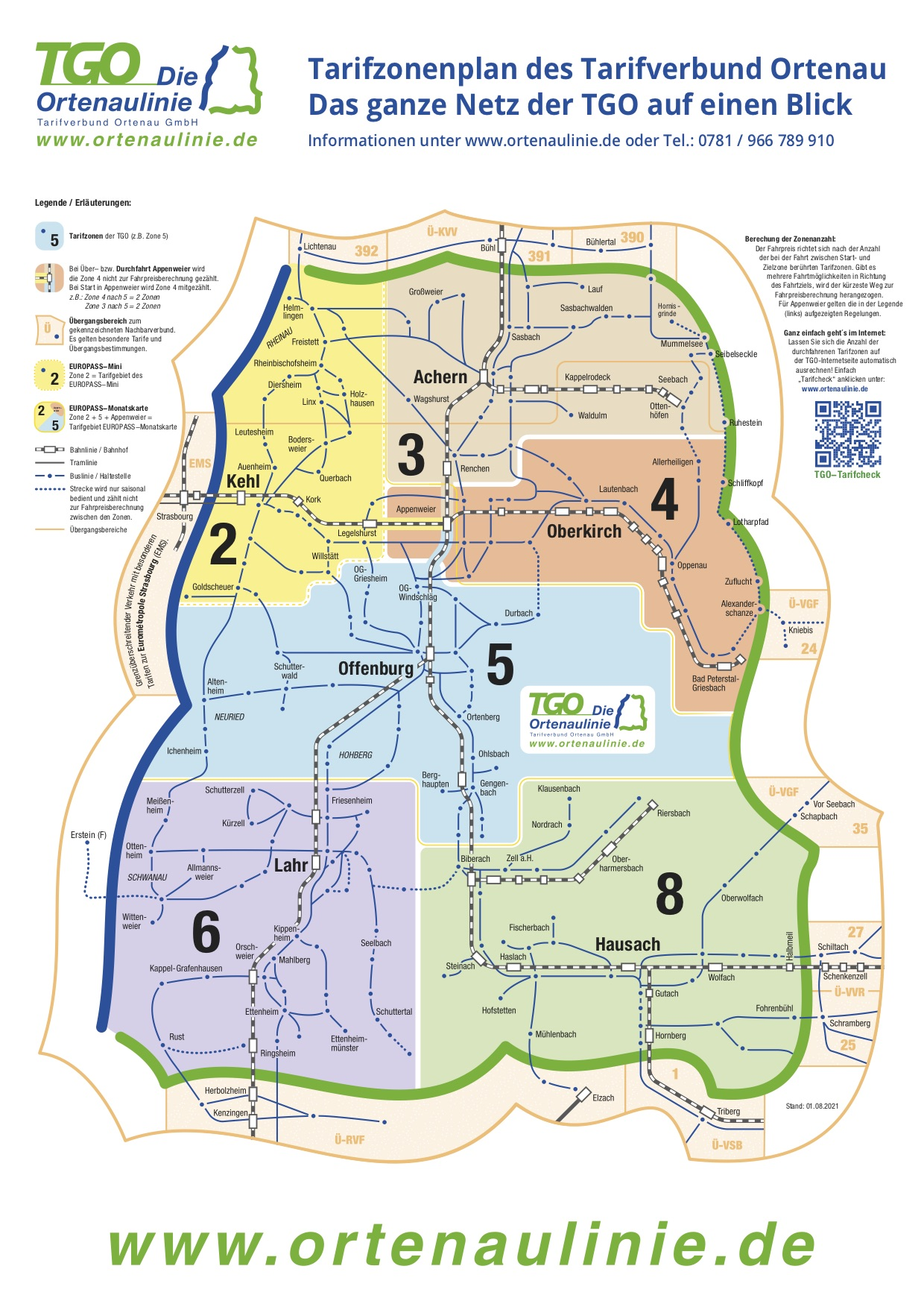 Plan des zones tarifaires TGO